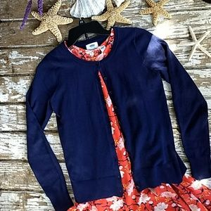 Navy button front cardigan